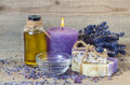 Lavender oil, lavender flowers, handmade soap and  sea salt with Royalty Free Stock Photo