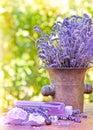 Lavender oil and lavender soap spa concept spa treatment Stock Photos