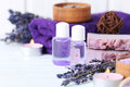 Lavender oil with soap Royalty Free Stock Photo