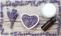 Lavender products natural cosmetics on wood Stock Photography