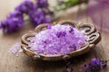 Lavender salt for spa Royalty Free Stock Photography