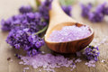 Lavender salt for spa flowers and Royalty Free Stock Image
