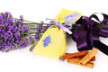 Lavender scented sachets on white background Stock Photos