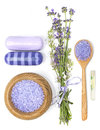 Lavender, sea salt, aromatic oil and soap on a white background Royalty Free Stock Photo