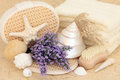 Lavender skincare flowers and accessories with shells Royalty Free Stock Photos