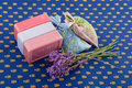 Lavender soap and scented sackets Royalty Free Stock Images