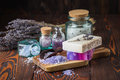 Lavender soap and sea salt Royalty Free Stock Photo