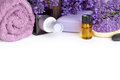 Lavender spa with flowers oil salt beauty composition on white background with copy space Royalty Free Stock Images