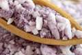 Lavender Spa Sea Salt in a wooden spoon Stock Photos