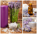 Lavender spa set with aromatic candle sea salt essential oil and Royalty Free Stock Photos