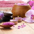Lavender spa set salt stones candle Royalty Free Stock Photo