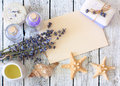 Lavender spa set with soap, lavender flowers, seastars,oil, salt Royalty Free Stock Photo