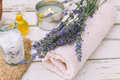 Lavender spa wellness products candle oil and bath salt Royalty Free Stock Images