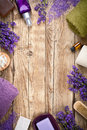 Lavender spa wellness products on wooden table copy space top view Royalty Free Stock Image