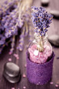 Lavender, zen stones and sea salt Royalty Free Stock Photography