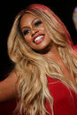 Laverne cox walks the runway at the go red for women red dress collection new york ny february presented by macy s fashion show Royalty Free Stock Photo