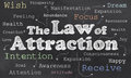 Law of attraction on blackboard with words Stock Photography