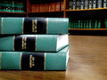 Law books on bankruptcy close up of several volumes of of codes and statutes Royalty Free Stock Photography