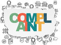 Law concept complaint on torn paper background painted multicolor text with hand drawn icons d render Royalty Free Stock Photos