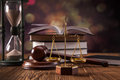 Law concept mallet legal code and scales of justice studio shots Royalty Free Stock Photos