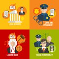Law flat icons legal services crime and punishment and order social responsibility set isolated vector illustration Stock Images