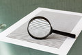 Law investigation magnifying glass with document on table Royalty Free Stock Photos