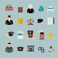Law and judgment concept flat icons set over blue Stock Photos