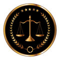 Law or layer seal illustration of a design for lawyers firms that could be used as a logo in striking reflective gold and black Stock Photos