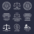 Law office logos set with scales of justice,gavel etc illustrations. Vector vintage attorney,advocate labels collection. Royalty Free Stock Photo