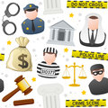 Law order icons seamless pattern a with colorful and on white background eps file available Royalty Free Stock Images