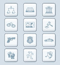 Law and order icons tech series related objects persons icon set Royalty Free Stock Image