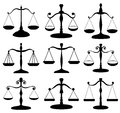 Law scale symbol set black isolated on white Royalty Free Stock Image