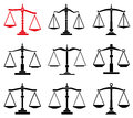 Law scales icons set of Stock Photography