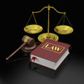 Law symbols gavel scale and book of and justice Stock Images