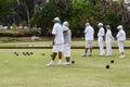 Lawn bowls seniors white clothing