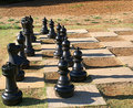 Lawn chess set large chessmen on Stock Photos