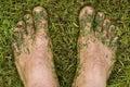 Lawn mower's feet Royalty Free Stock Photo