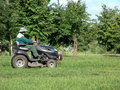 Lawn mower the worker mows a grass on a Royalty Free Stock Photo