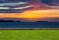 The lawn and twilight empty sea view sunset Royalty Free Stock Photo
