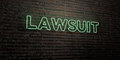 LAWSUIT -Realistic Neon Sign on Brick Wall background - 3D rendered royalty free stock image