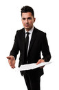 Lawyer inviting you to see a contract Stock Photo