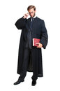 Lawyer young dressed with a toga isolated in white Royalty Free Stock Photos