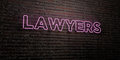 LAWYERS -Realistic Neon Sign on Brick Wall background - 3D rendered royalty free stock image