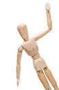 Lay figure is greeting with his wooden arm isolated Royalty Free Stock Images