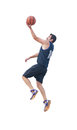 Lay up on white basketball player making a background Stock Photography
