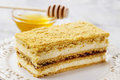 Layer honey cake festive and party dessert Royalty Free Stock Photos