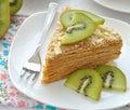 Layered cake with slices of kiwi fruit Royalty Free Stock Photo