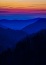 Layered colors in the smokies multicolored mist depicted during a sunset great smoky mountains Royalty Free Stock Photo