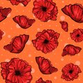 Layered illustration of poppy flowers. Seamless pattern with red plants in bloom, spring season concept