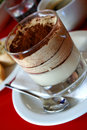 Layered tiramisu dessert (vertical) Royalty Free Stock Image